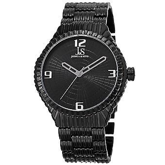 Joshua & Sons Men's Quartz Watch with Etched Dial and Etched Bracelet JS99BK