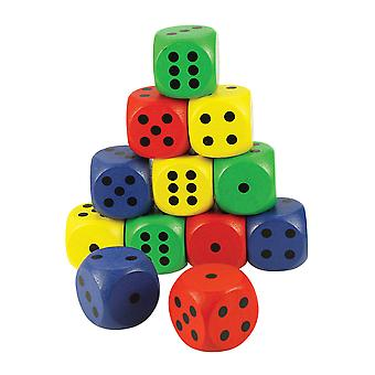 Bigjigs Toys Wooden Large Dice Coloured (Pack of 12) Educational Game Numbers