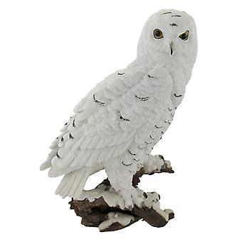 Beautiful Snowy Owl on a Branch Statue