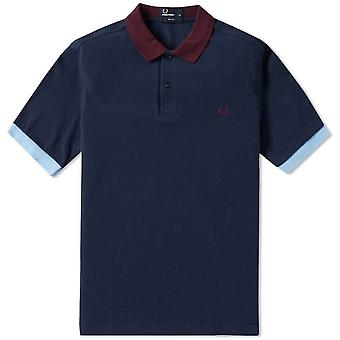 Fred Perry Herren Farbe Block Pique Polo-Shirt Slim Fit kurzen Ärmeln