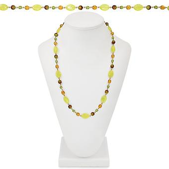 Eternal Collection New England Amber And Green Crystal 26 Inch Gold Tone Beaded Necklace