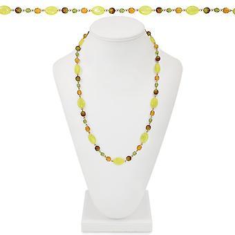 Eterna colección Nueva Inglaterra ámbar y verde collar de perlas de cristal 26 pulgadas dorado