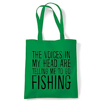 Voices In My Head Fishing Tote | Rod Keep Net Match Catch Night Waders Hook Bait | Reusable Shopping Cotton Canvas Long Handled Natural Shopper Eco-Friendly Fashion