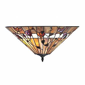 2 Light Medium Ceiling Flush Light Dark Bronze, Tiffany Glass