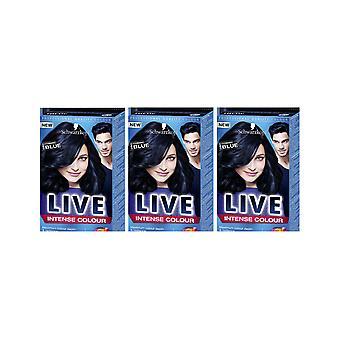 Schwarzkopf LIVE intense 090 kosmisk blå Pro permanent hårfarge fargestoff x 3