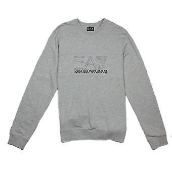 Ea7 Emporio Armani EA7 Large Logo Crew Neck Sweatshirt Grey Light Melange