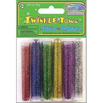 Glitter Tube Assortment 3 Grams 6 Pkg Silver Gold Purple Red Blue Green Gc406a