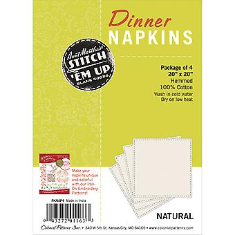 Stitch 'Em Up Dinner Napkins For Embroidery 4 Pkg Natural Pknap 4