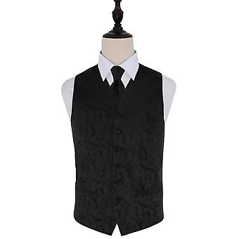 Black Passion Floral Patterned Wedding Waistcoat & Tie Set