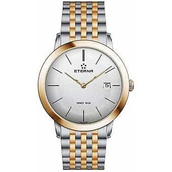 Eterna Mens Eternity Quartz Brushed Silver Dial Two Tone Strap 2710.53.10.1737 Watch