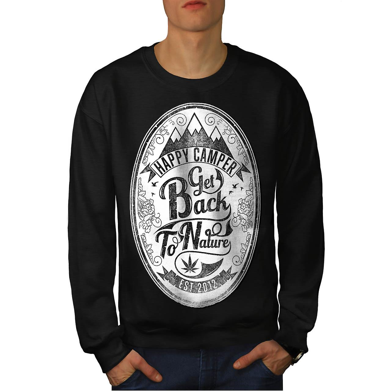 Get Back To Nature Slogan Pass Joint Men Black Sweatshirt | Wellcoda