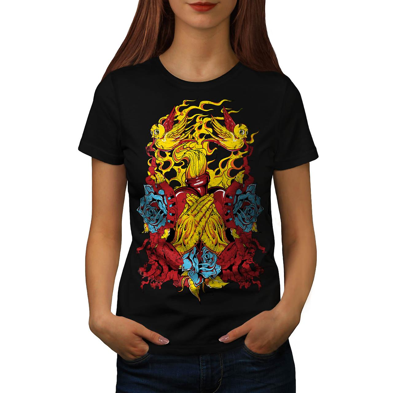 Heart Beats Prayer Love Fire USA Women Black T-shirt | Wellcoda