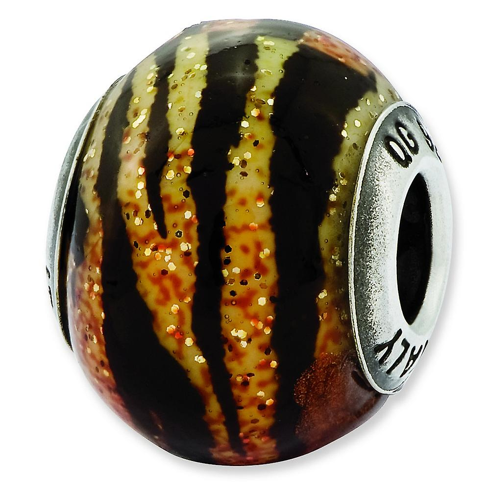 Sterling Silver Variegated Italian Orange Yellow and Black Glass Bead Charm