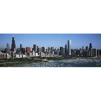 Aerial view of buildings in a city Chicago Illinois USA Poster Print