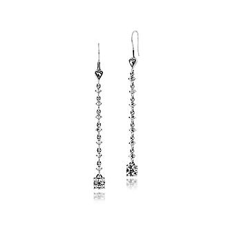 925 Sterling Silver Marcasite Long Dangle Drop Earrings