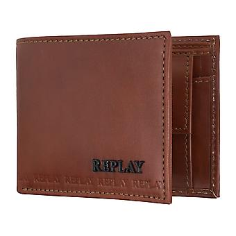 REPLAY purse coin purse wallet Leather Brown 5082