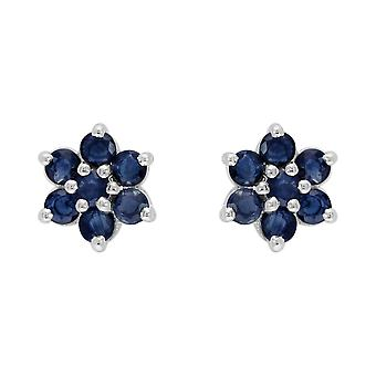 Sterling Silver 1.55ct Natural Blue Sapphire Classic Cluster Stud Earrings