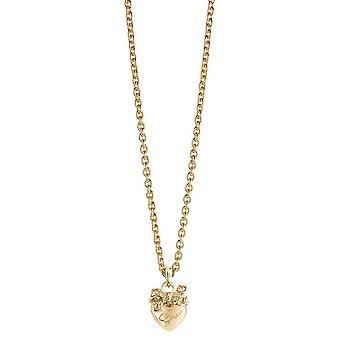 Guess ladies chain necklace heart cubic zirconia stainless steel gold UBN21584