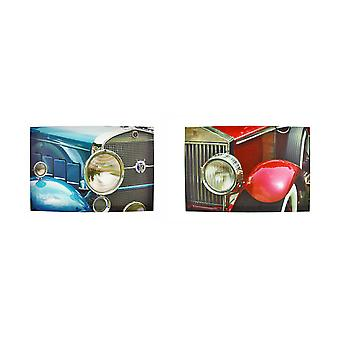 Pair of Classic Cars Printed Canvas Wall Hangings