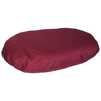 Country Dog Heavy Duty Waterproof Oval Cushion Burgundy 95x70x15cm