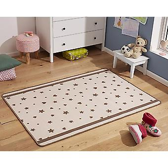 Design kids carpet stars and hearts Brown 100 x 140 cm
