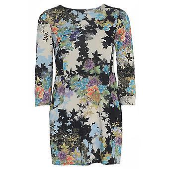 Blue Floral Satin Look Top TP417-XL