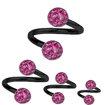 Spiral Twist Piercing Black Titanium 1,6 mm, Multi Crystal Ball Pink | 8 - 12 mm