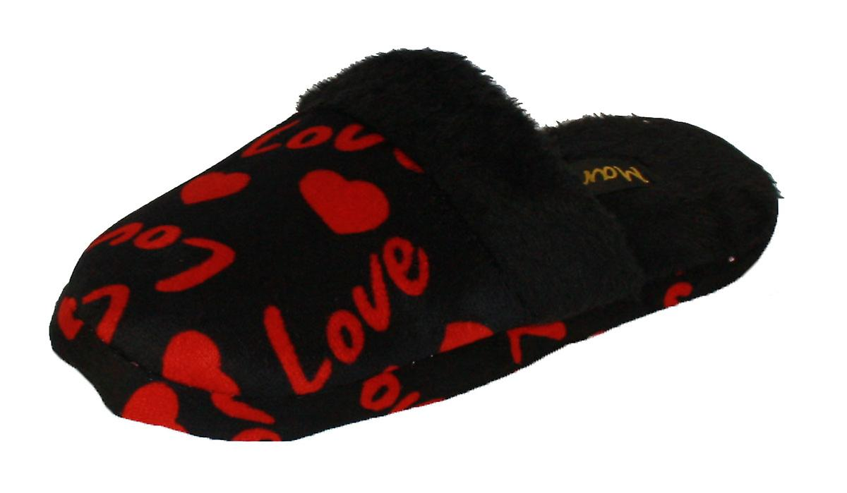 Womens Slippers Fleece Coolers Lined Mule Printed Heart Love A6BdqF