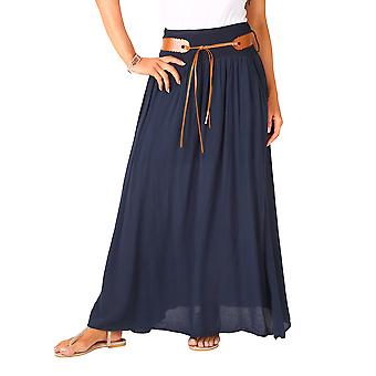 KRISP  Womens Ladies Boho Hippie Tie Belted Light Cotton Pleated Summer Long Maxi Skirt