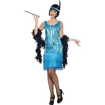 Flirty flapper costume Turquoise dress, headpiece and necklace