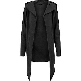 Urban Classics Charcoal Open Edge Hooded Long Cardigan