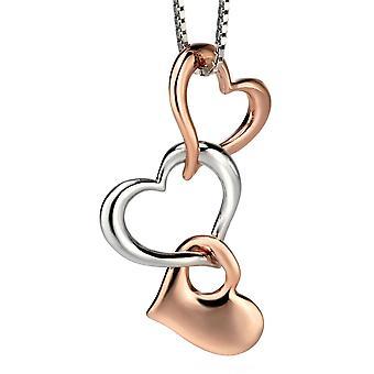 925 Silber Rotgold plattiert modische Herz Halskette