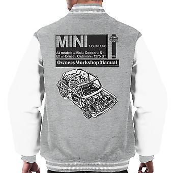 Haynes Workshop handmatige Mini 1959 zwarte mannen Varsity Jacket