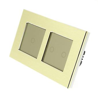 I LumoS Gold Brushed Aluminium Double Frame 3 Gang 1 Way Remote & Dimmer Touch LED Light Switch Gold Insert