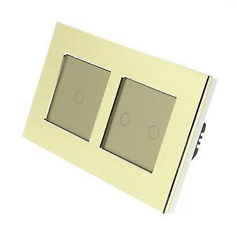 Ich LumoS Gold gebürstet Aluminium Doppelrahmen 3 Gang 1 Weg Remote-Touch LED Leuchte Gold einfügen