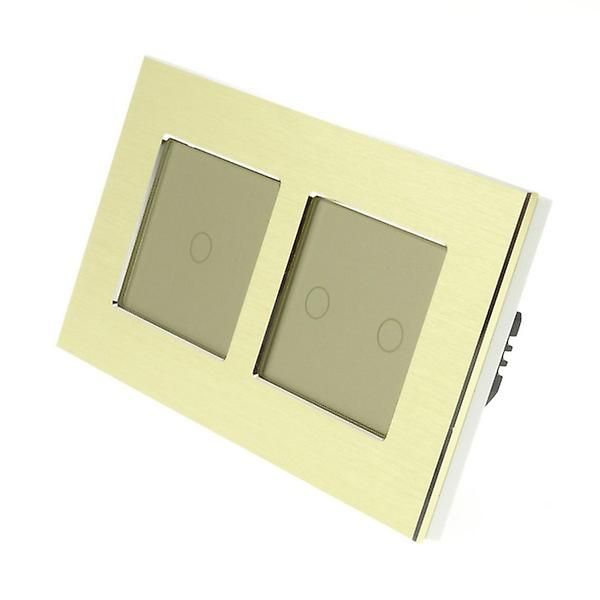I LumoS or Brushed Aluminium Double Frame 3 Gang 2 Way Remote Touch LED lumière Switch or Insert