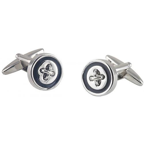 David Van Hagen Button Cufflinks - Silver/Black