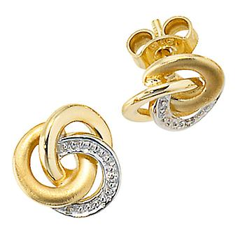 Ear plugs earrings, 585 / - Gelbgold, part of rhodium-plated, 2 diamond diamonds