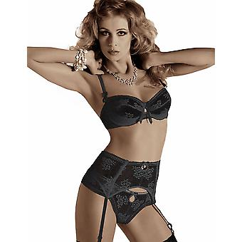 Roza Euterpe Black Floral Lacy Thong