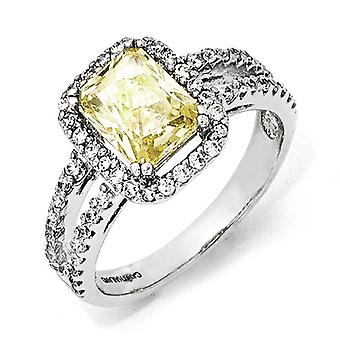 Sterling Silver Cushion Cut Rhodium-plated Cubic Zirconia Canary Square Ring - Ring Size: 6 to 8
