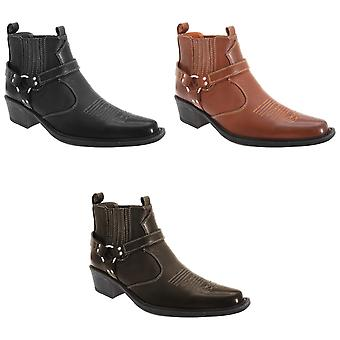 US Brass Mens Eastwood Cowboy Ankle Boots