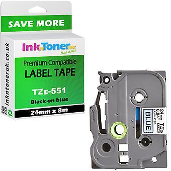 TZe-551 compatible laminé noir-bleu 24 x 8 cartouche pour Brother PT-2450DX Label