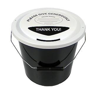 Charity Money Collection Bucket 5 Litres - Black