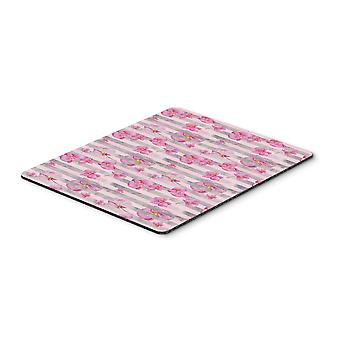 Watercolor Pink Flowers Grey Stripes Mouse Pad, Hot Pad or Trivet