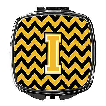 Carolines Treasures  CJ1053-ISCM Letter I Chevron Black and Gold Compact Mirror