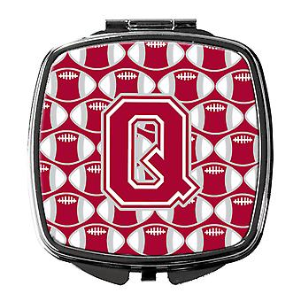 Letter Q Football Crimson, grey and white Compact Mirror