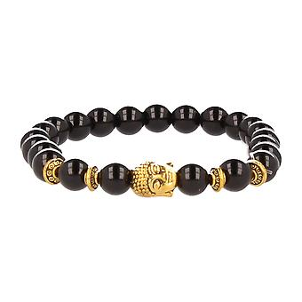 FUNKYPEARLS fashion jewelry stone Beads Bracelet 20 cm black with Golden Buddha