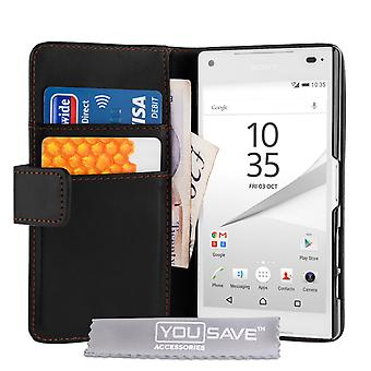 Sony Xperia Z5 Compact Leather-Effect Wallet Case - Black