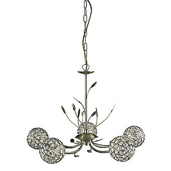 5575-5AB Bellis II Antique Brass/Glass 5 Light Ceiling Pendant