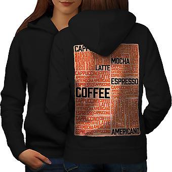 Café Latte Mocha lema mujeres BlackHoodie espalda | Wellcoda